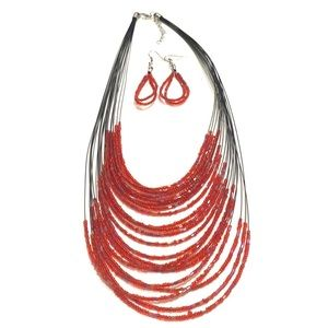 Red Bohemian Beaded multi layered necklace set